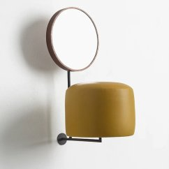 HdL (yellow), 2014 Iron, wood, mirror, leather 55 x 25 x 36 cm