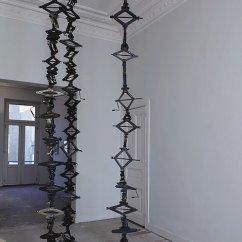 Statik Elastik, 2012 used car-jacks/crics Three columns, each 430 x 45 x 45 cm Unique Piece
