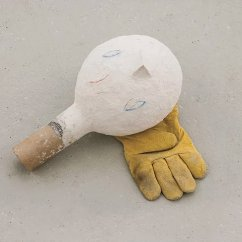 Untitled, 2013 Paper, plaster, wood-powder, leather glove
